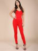 Red Sexy Plain Bandage Polyester Jumpsuit