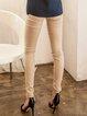 Beige Plain H-line Simple Polyester Skinny Leg Pant