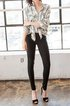 Black Simple Rayon H-line Plain Skinny Leg Pants