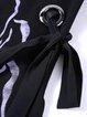 Black 3/4 Sleeve Printed Abstract Midi Dress