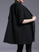 Black Paneled Plain 3/4 Sleeve Coat