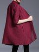 Paneled 3/4 Sleeve Casual H-line Plain Coat