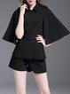 Black Solid Batwing Two Piece Romper