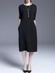Black Crew Neck Simple Sweater Dress