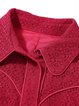 Red Plain Guipure Lace Long Sleeve Mini Dress