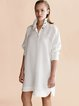 White Stand Collar Casual H-line Shirt Dress