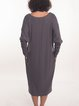 Viscose Casual Long Sleeve V Neck Midi Dress