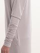 Light Gray Viscose Long Sleeve Plain V Neck Maxi Dress