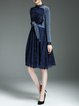 Dark Blue Guipure Lace Wool blend Elegant A-line Midi Dress