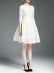 White Elegant Polyester Embroidered Bateau/boat Neck Mini Dress