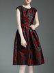 Black A-line Elegant Crew Neck Polyester Midi Dress