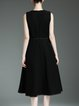 Elegant Plain Sleeveless Crew Neck Sewing Midi Dress