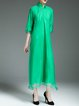 Green Long Sleeve Stand Collar Midi Dress