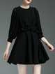 Black Crew Neck Plain Viscose Balloon Sleeve Mini Dress