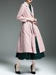 Pink Lapel A-line Polyester Long Sleeve Coat