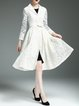 Cream Elegant Lapel Polyester Embroidered Coat