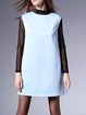 Light Blue Stand Collar Slit Sleeveless Polyester Mini Dress