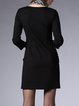 Black Paneled H-line Casual Mini Dress