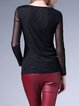 Long Sleeve Casual Polyester H-line Plain Long Sleeved Top