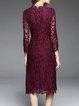 Burgundy A-line Guipure Lace Long Sleeve Midi Dress