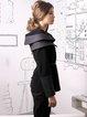 Black Paneled Velvet H-line Long Sleeve Coat