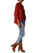 Red Asymmetrical Crew Neck Casual Sweater