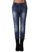 Dark Blue Buttoned Cotton-blend Casual Plain Jeans