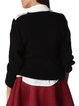 Black H-line Shirt Collar Long Sleeve Paneled Sweater