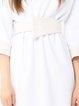 White Simple V Neck Paneled Viscose Mini Dress