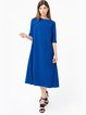 A-line Plain Simple Cutout Half Sleeve Midi Dress