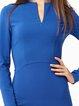 Dark Blue Sheath V Neck Long Sleeve Midi Dress