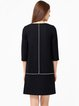 Black Simple Wool Blend Shift Embellished Midi Dress