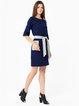 Dark Blue Paneled A-line Elegant Crew Neck Midi Dress