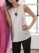 White Crew Neck Draped Sleeveless Rayon Tanks