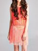 Coral Plain Boho Fringed Mini Dress