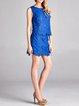 Royal Blue Elegant H-line Guipure Lace Floral Mini Skirt
