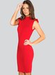 Red Knitted Sleeveless Sweater Dress
