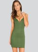 Olive Green Sweetheart Sleeveless Bandage Dress
