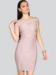 Pink Short Sleeve Paneled Off Shoulder Bandage Dress