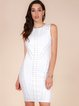White Sleeveless Polyester Plain Bandage Dress