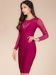 Fuchsia Sheath Crew Neck See-through Look Sexy Bandage Dress