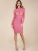 Pink Crew Neck Paneled Long Sleeve Bandage Dress