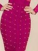 Fuchsia Paneled Long Sleeve Sheath Mesh Bandage Dress