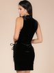 Black Lace Up Sheath Velvet Sleeveless Mini Dress