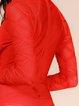 Red Keyhole Front Mesh Sleeves Bandage Bodysuit