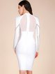 White Beaded Sheath Long Sleeve Bandage Dress