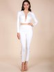 White Chain Lace-up Two Piece Bandage Pants Set