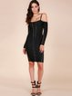Black Metal Trim Lace-up Cold Shoulder Bandage Dress