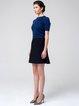 Black Solid Wool Simple A-line Mini Skirt