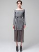 Gray Turtleneck Elegant Ruffled Two Piece Sweater Dress
